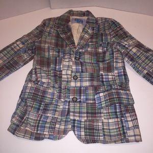 Children's place Plaid patch blazer